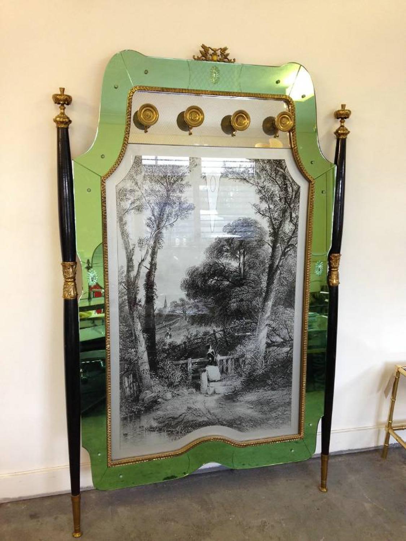 Italian green mirrored edge coatstand
