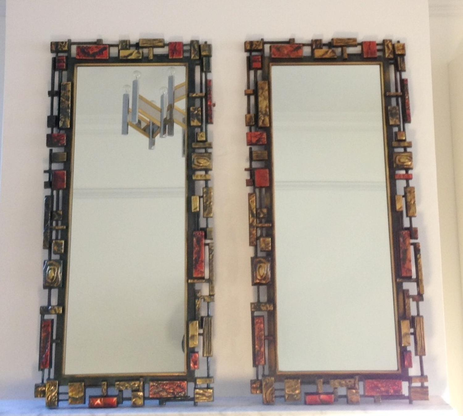 A pair of Brutalist mirrors by Syroco