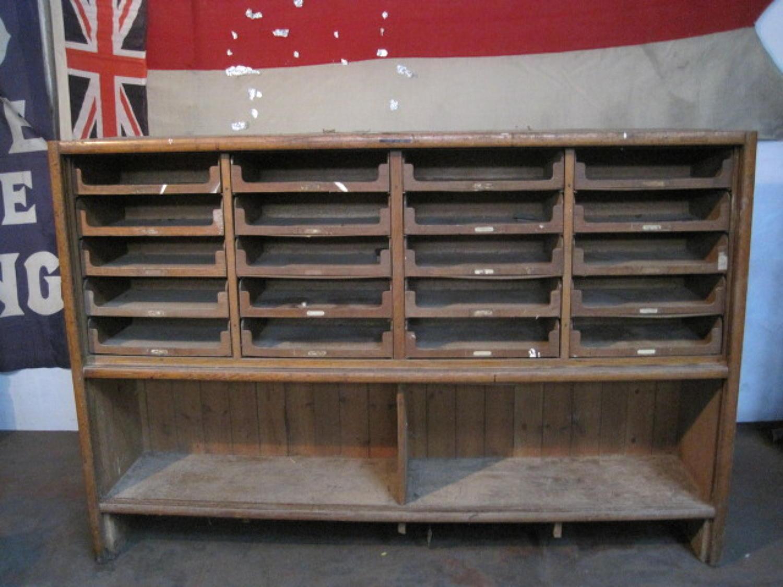 Vintage oak haberdashery cabinet E Pollard & Co