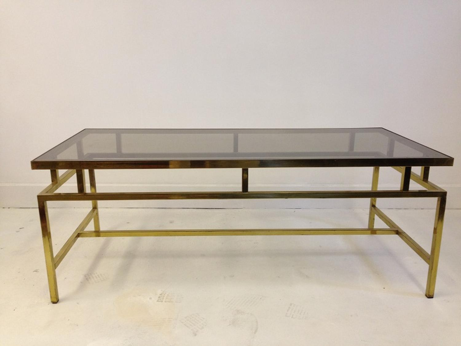 French gilt brass and glass coffee table
