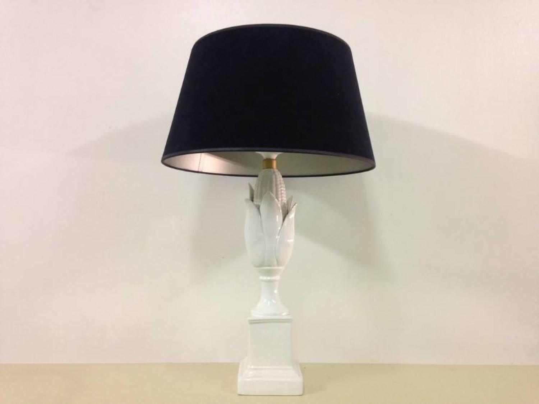 1970s white ceramic corn lamp