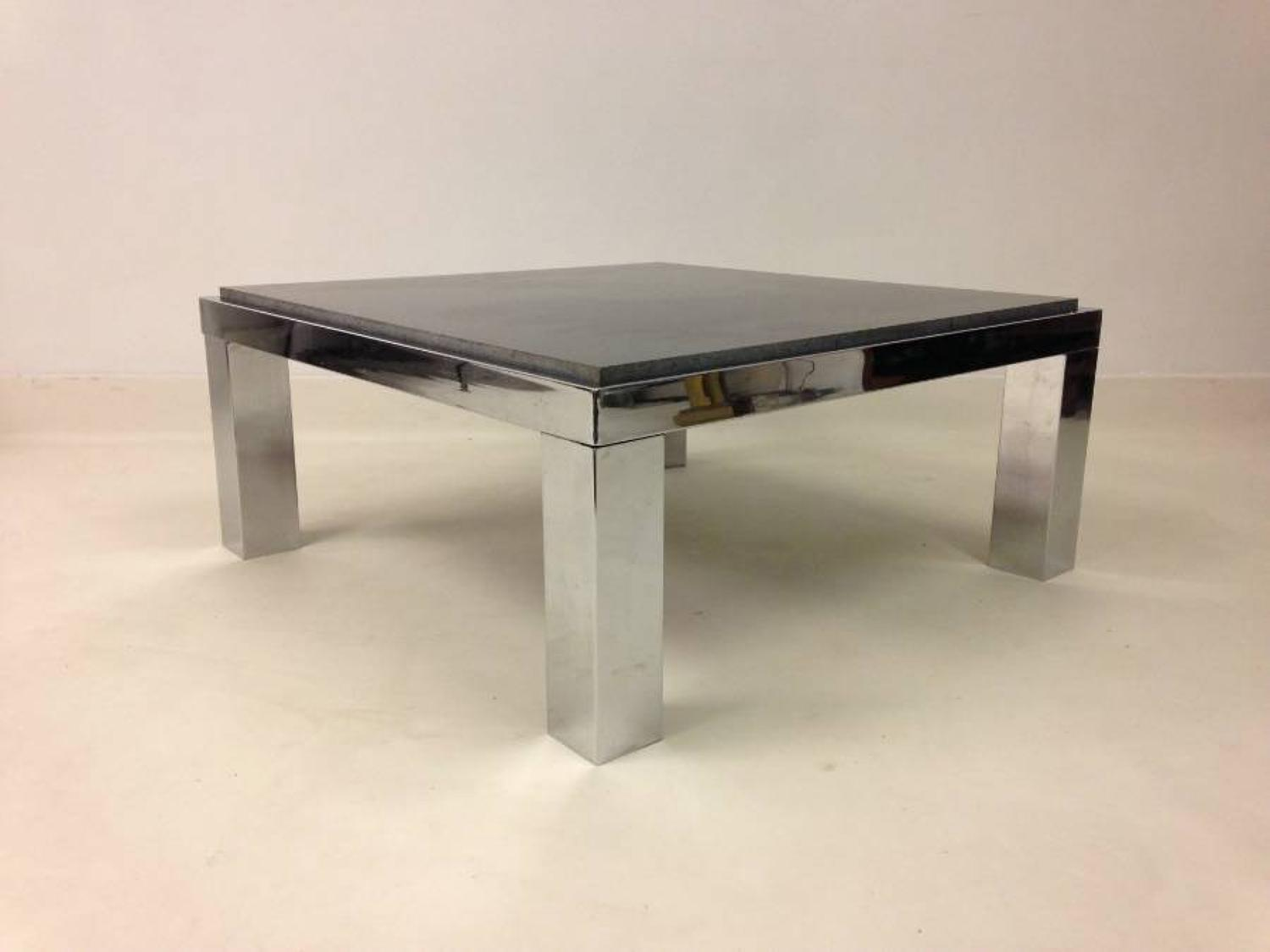 1970s chrome and marble coffee table