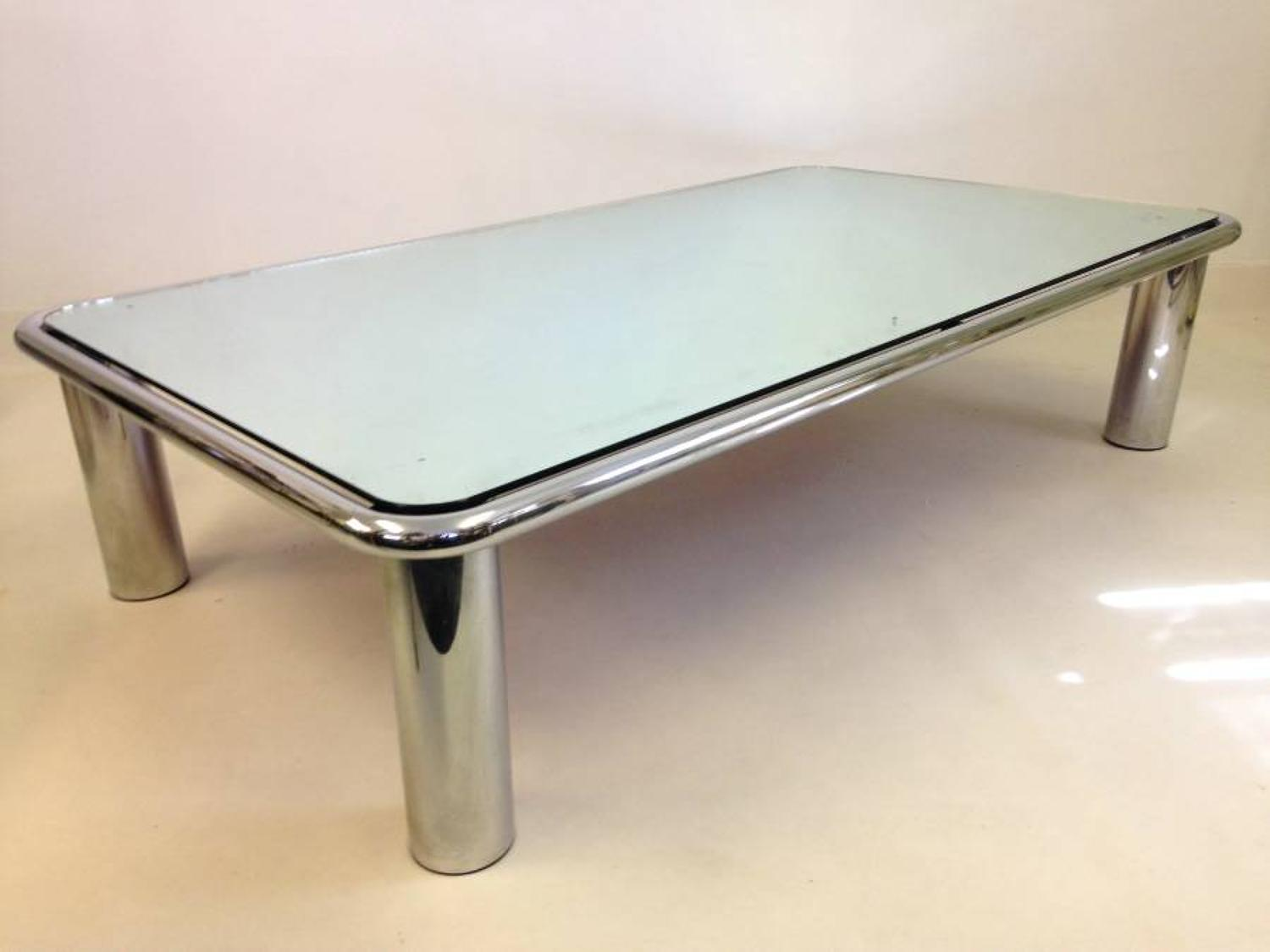 Chrome and mirror coffee table by Mario Bellini