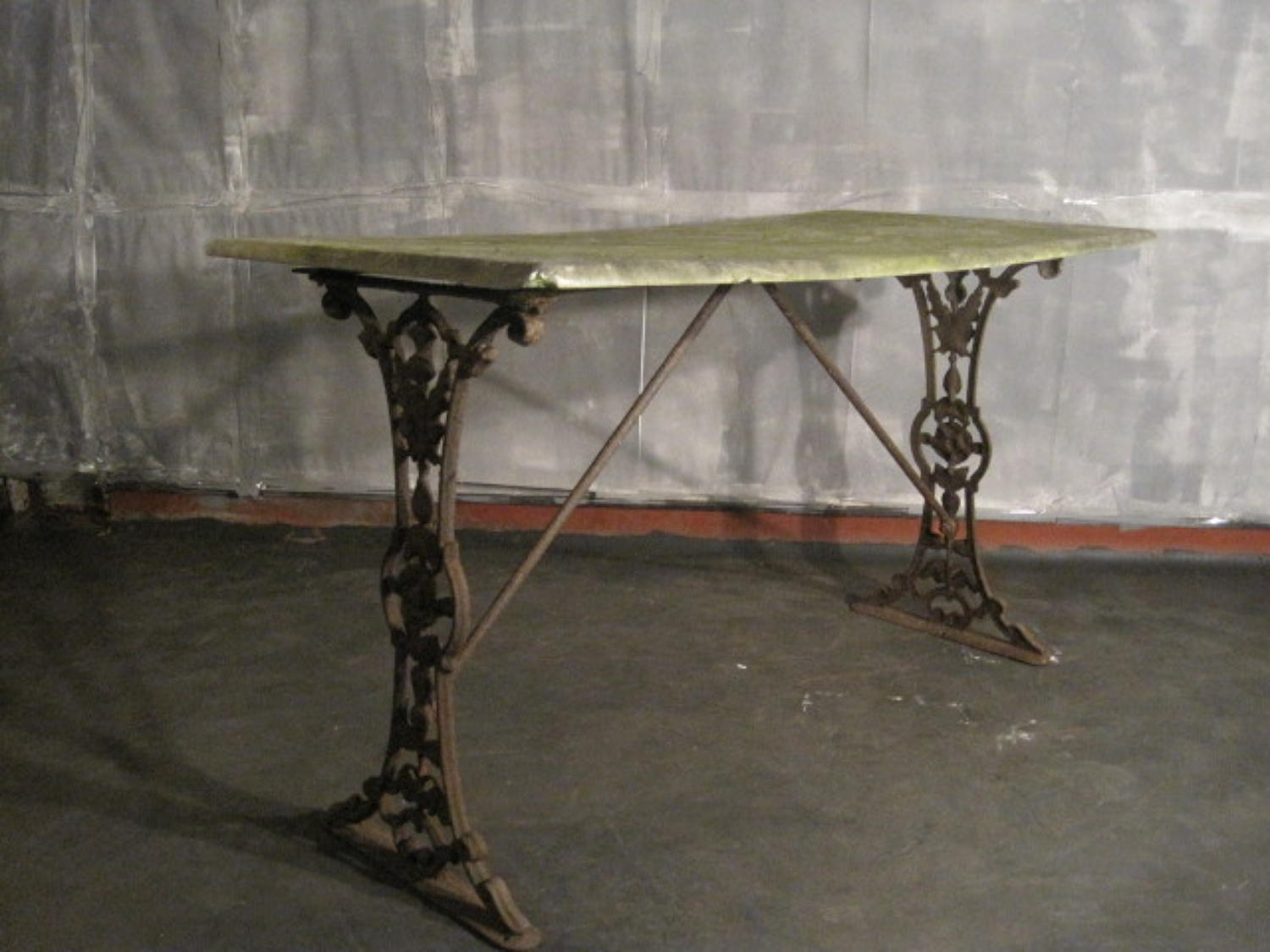 Cast iron and stone table