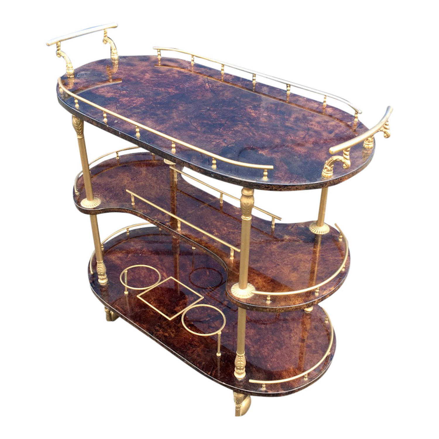 Lacquered goatskin drinks trolley by Aldo Tura