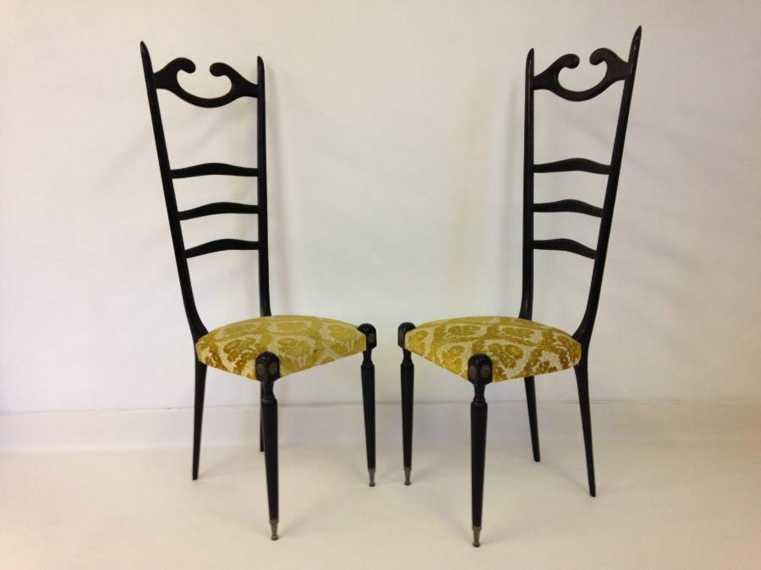 A pair of 1950s Italian hall chairs