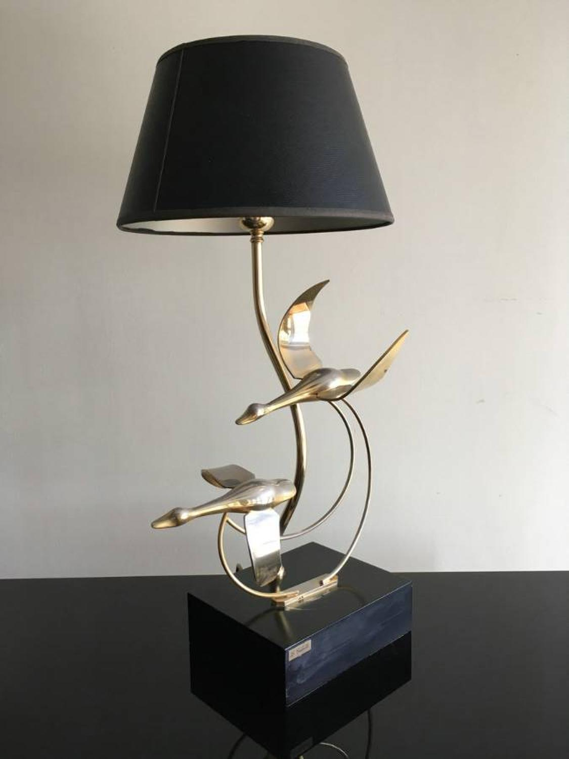 Gilt metal geese lamp by L. Galeotti