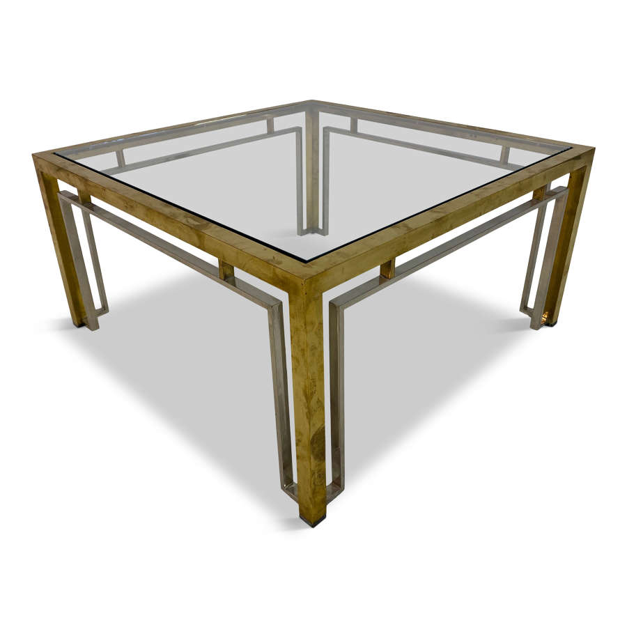 1970s Italian brass and chrome coffee table