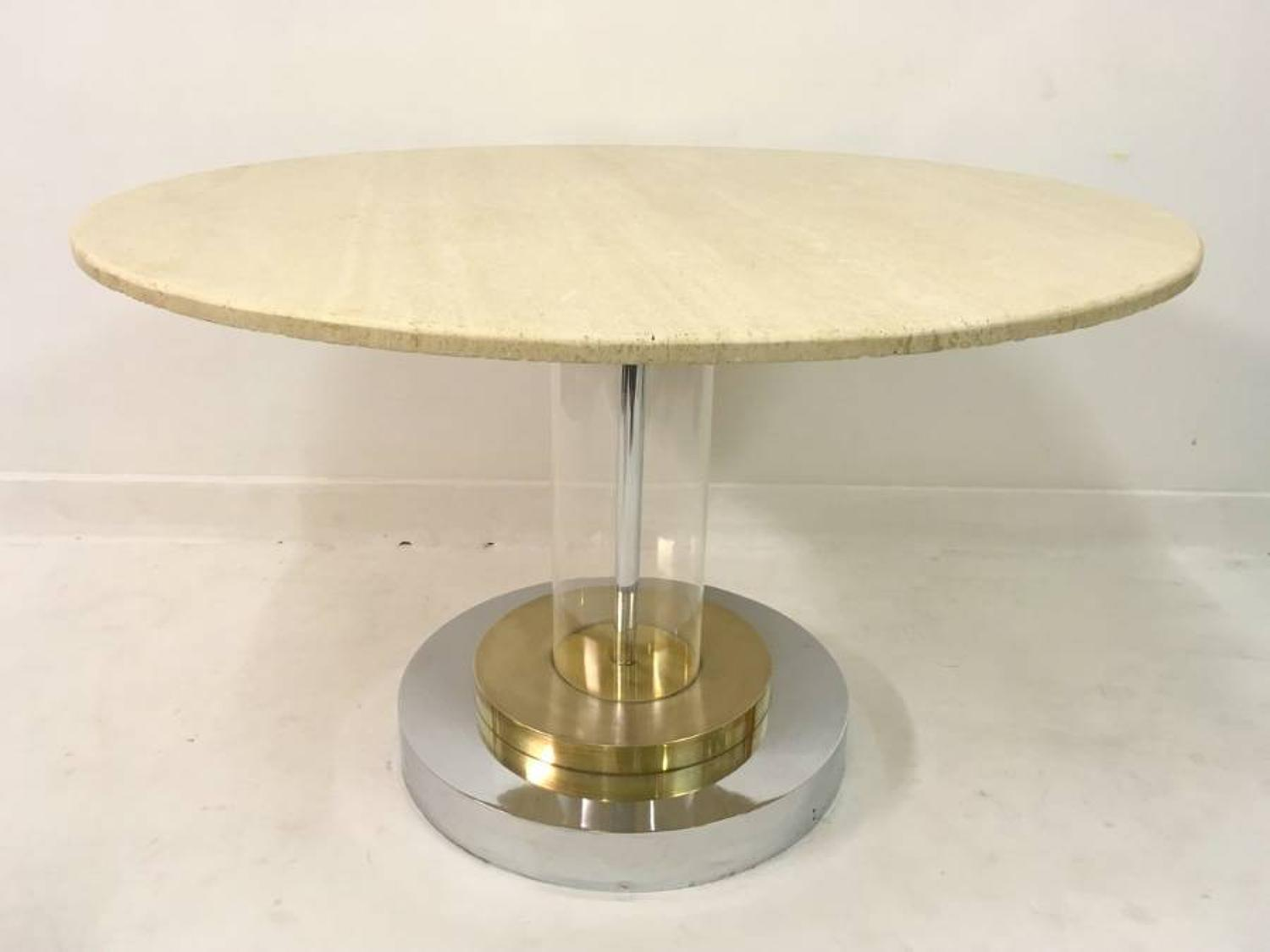 Travertine, lucite, brass and chrome centre table