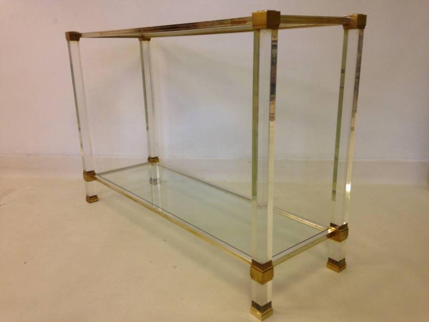 Lucite and brass console table by Pierre Vandel