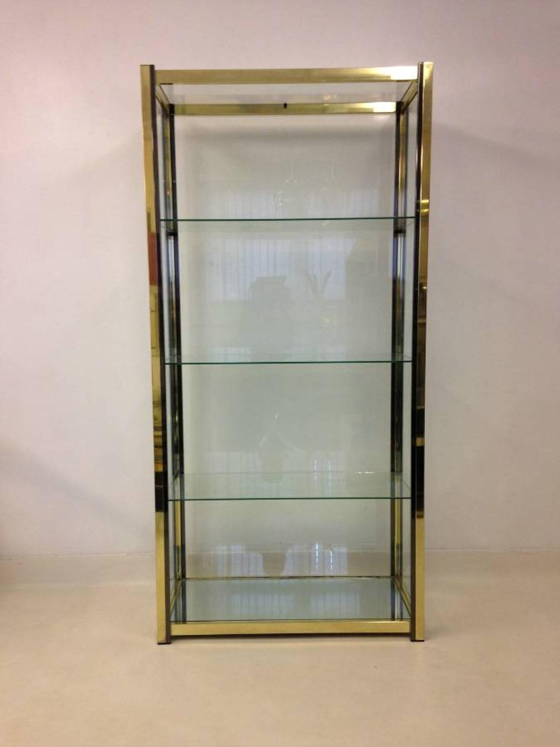Brass and nickel etagere or cabinet