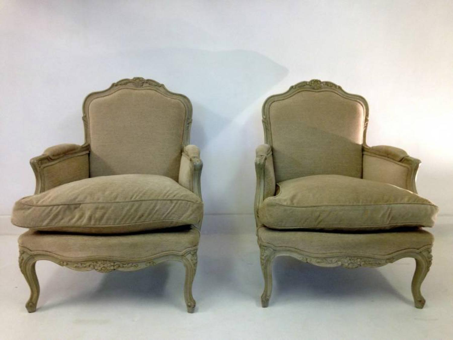 A pair of French bergere armchairs
