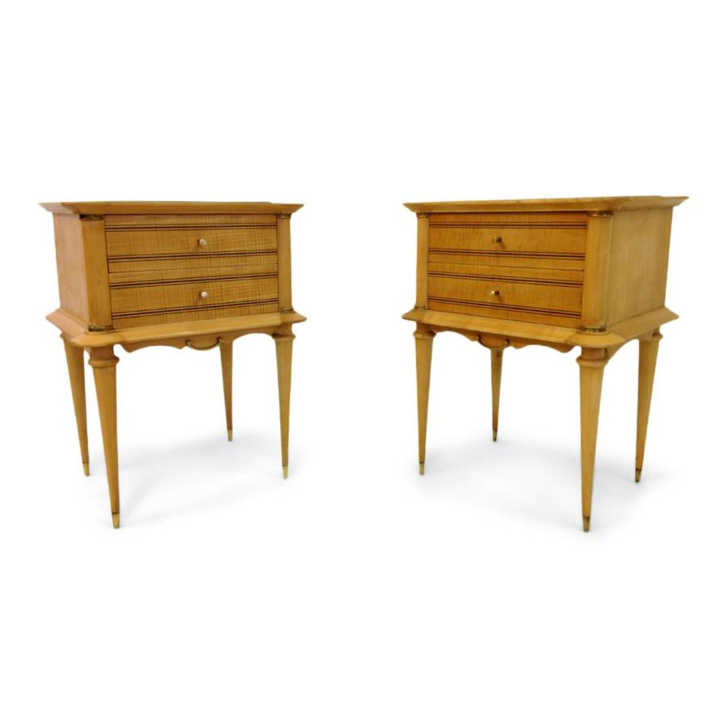 A pair of French sycamore bedside tables
