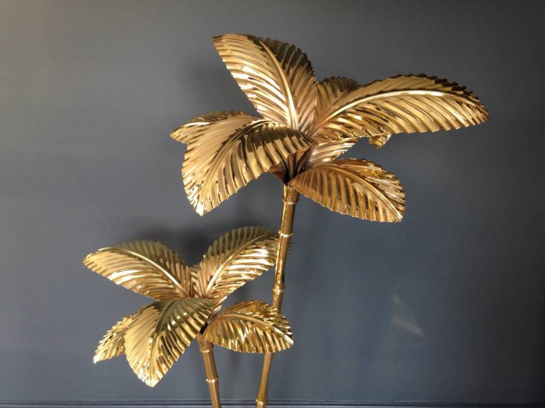 Gilt brass palm tree floor lamp