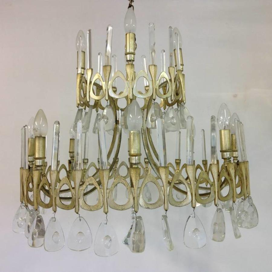 Silverplate and crystal chandelier by Sciolari