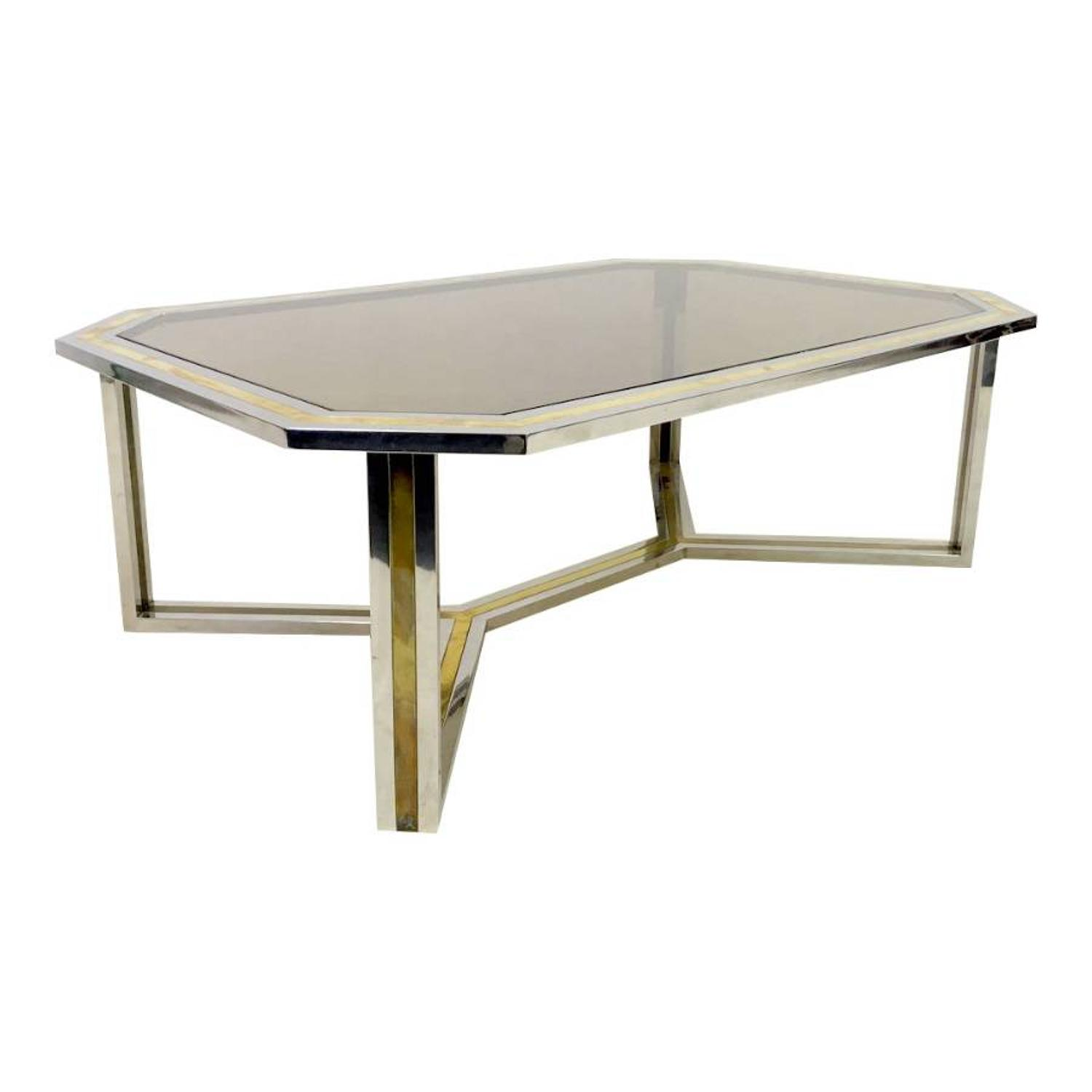 1970s Chrome and brass coffee table by Romeo Rega