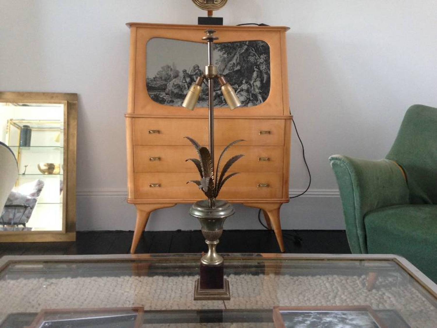 Brass and steel pineapple frond lamp