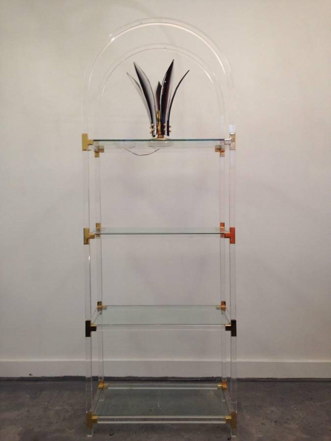1970s lucite and brass etagere