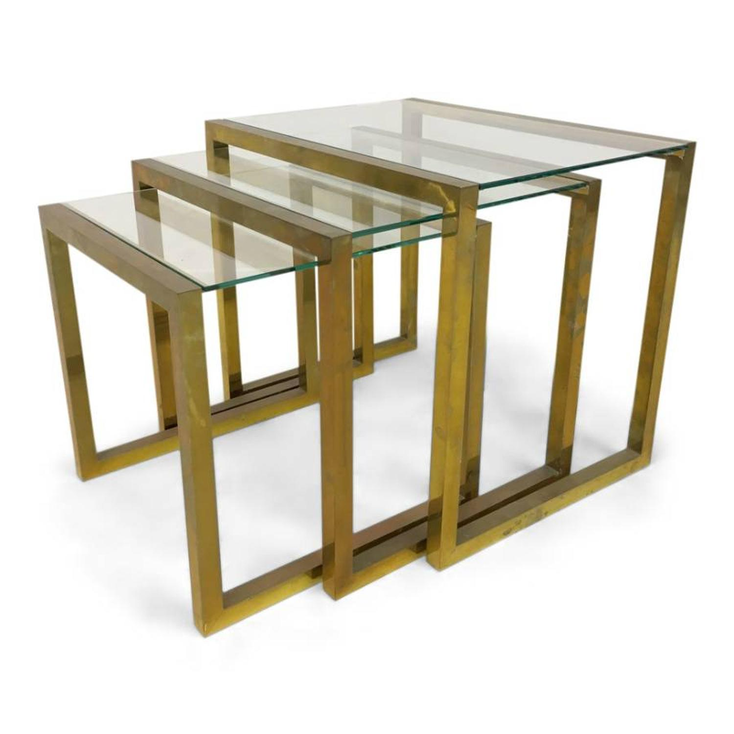 1970s brass nest of tables