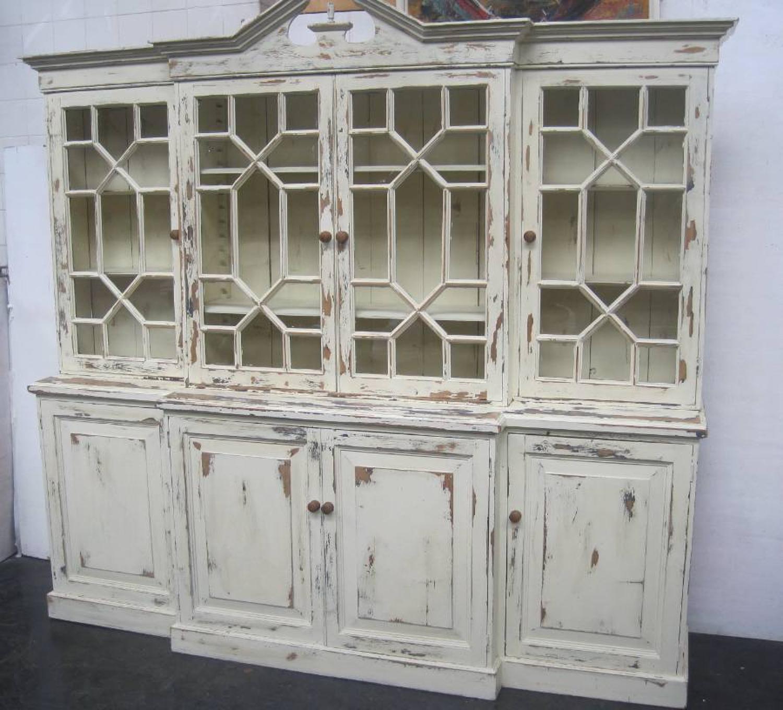 Antique pine breakfront bookcase