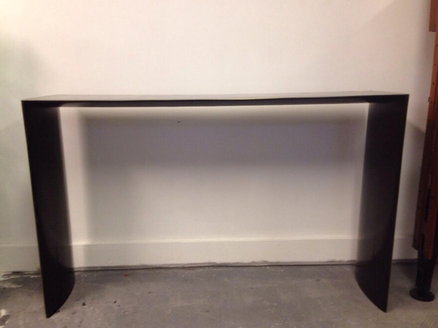 Console table with brass banding