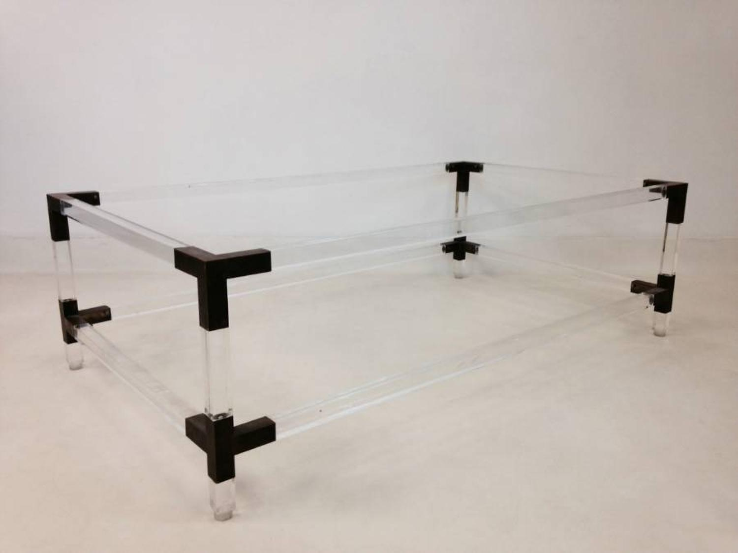 Italian lucite and brass coffee table