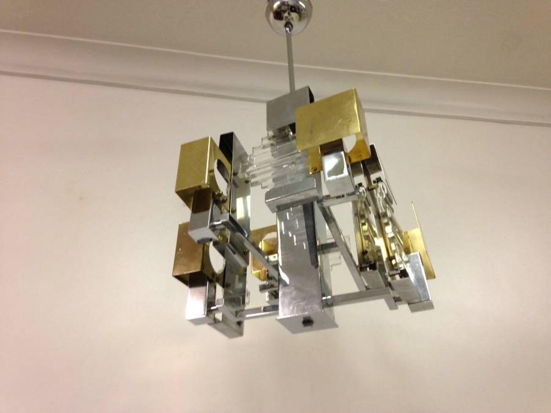 Brass and chrome chandelier by Sciolari