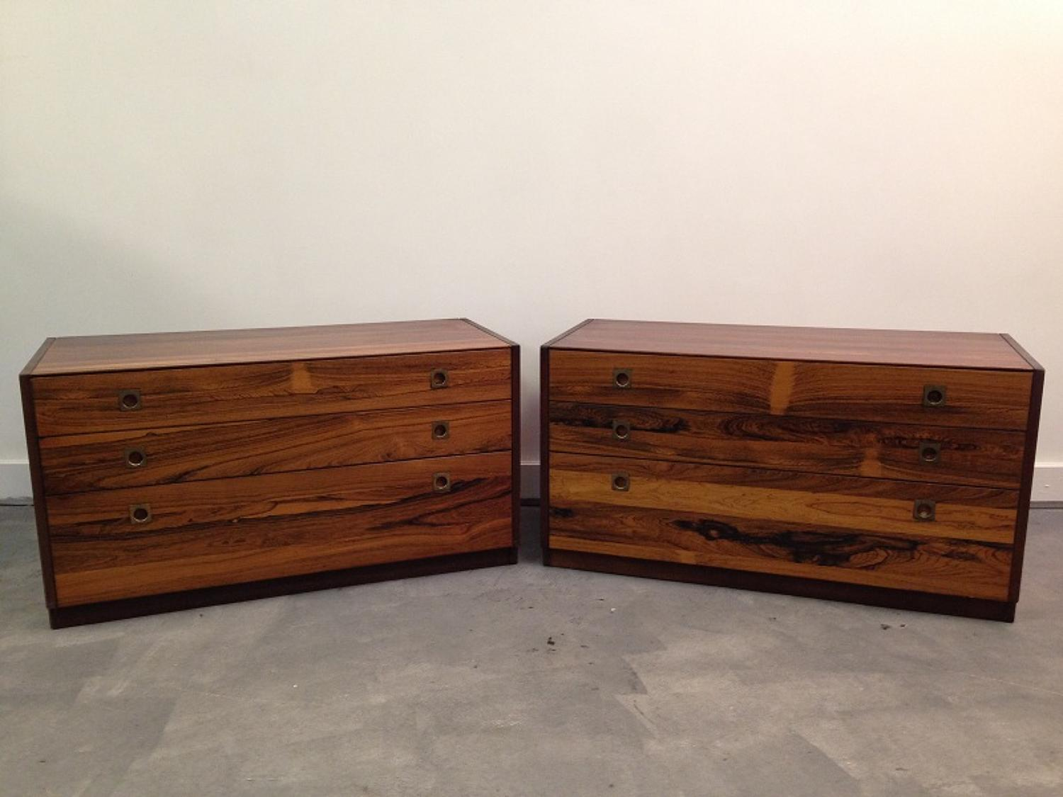 A pair of Heals rosewood chest of drawers