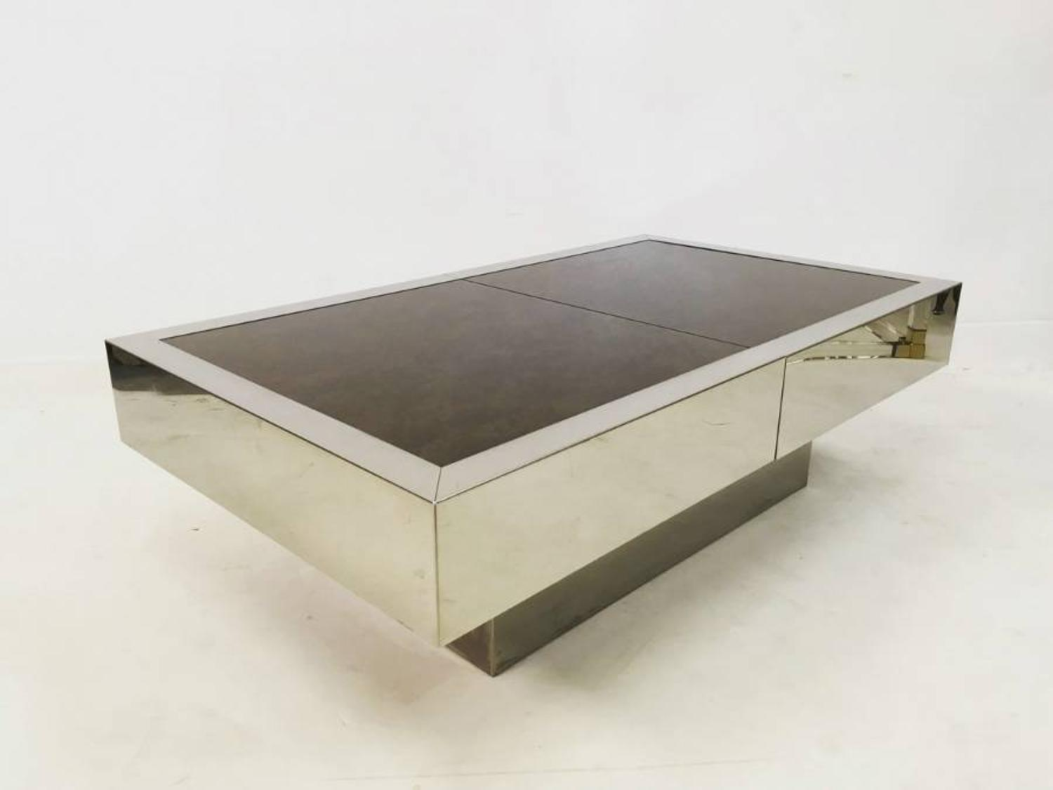 Sliding dry bar coffee table by Willy Rizzo