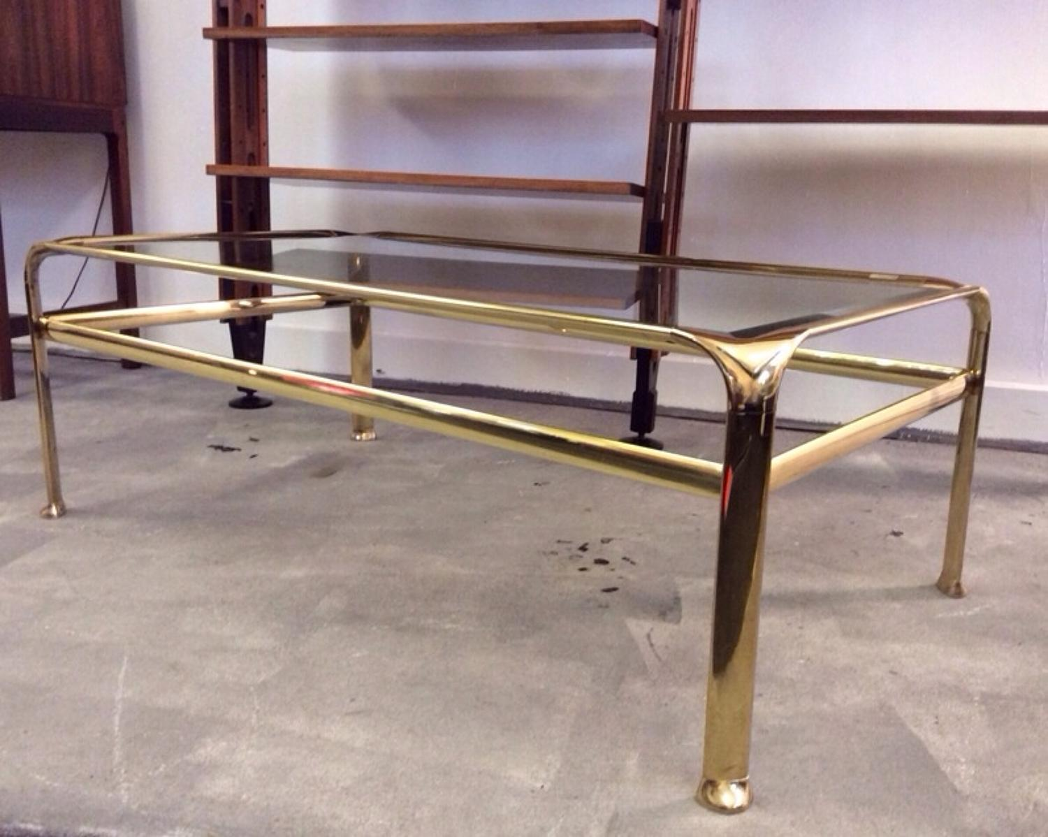 1970s gilt metal coffee table