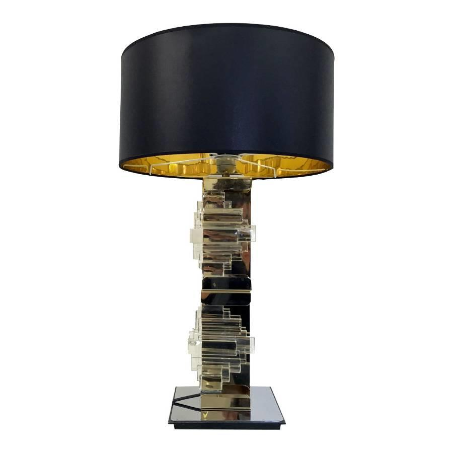 Brass, chrome and glass table lamp by Sciolari