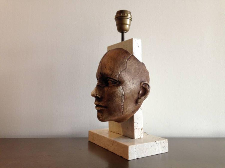 Travertine and ceramic face lamp