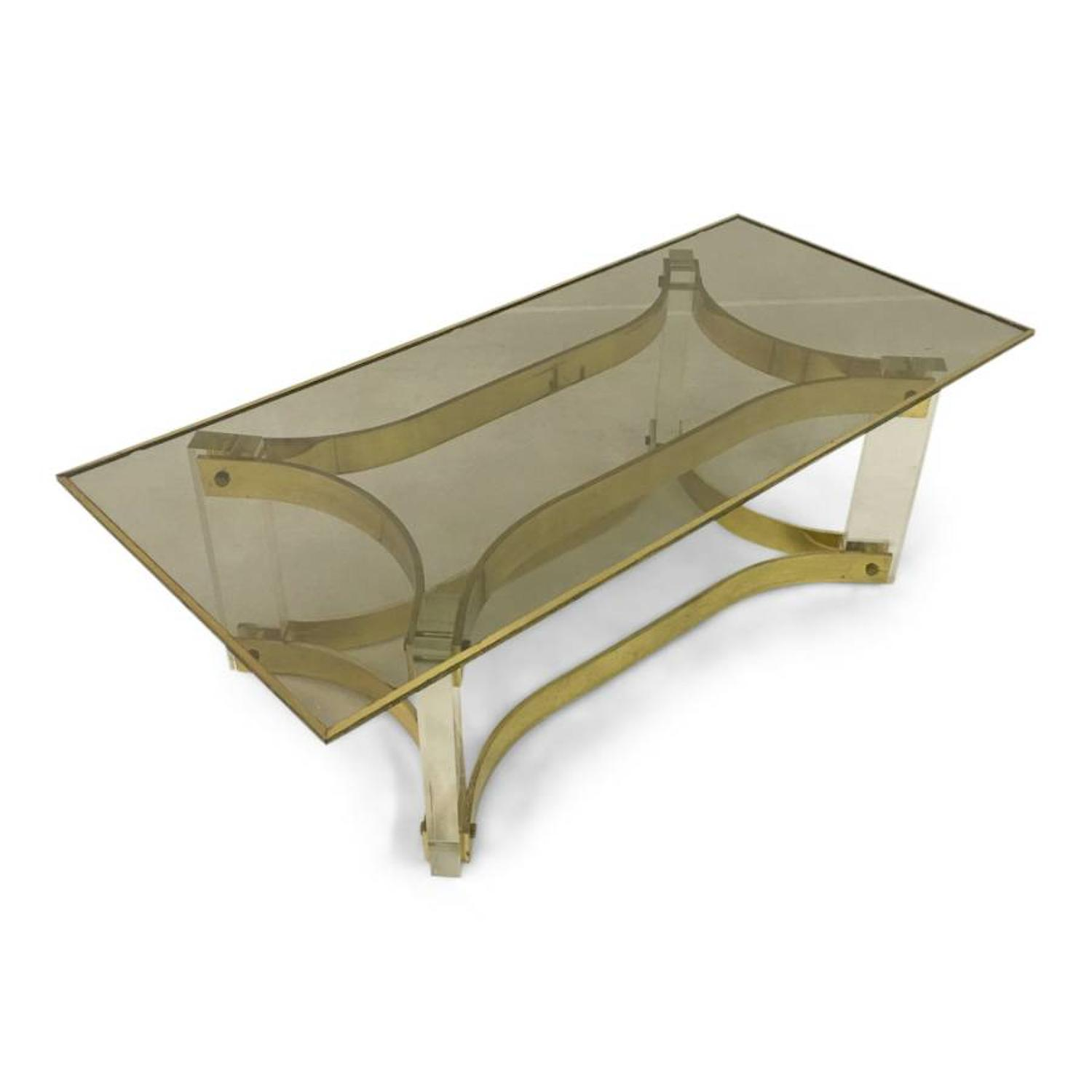 1970s Lucite and brass coffee table