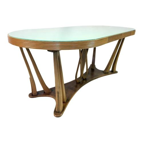 1940s Italian dining table with glass top