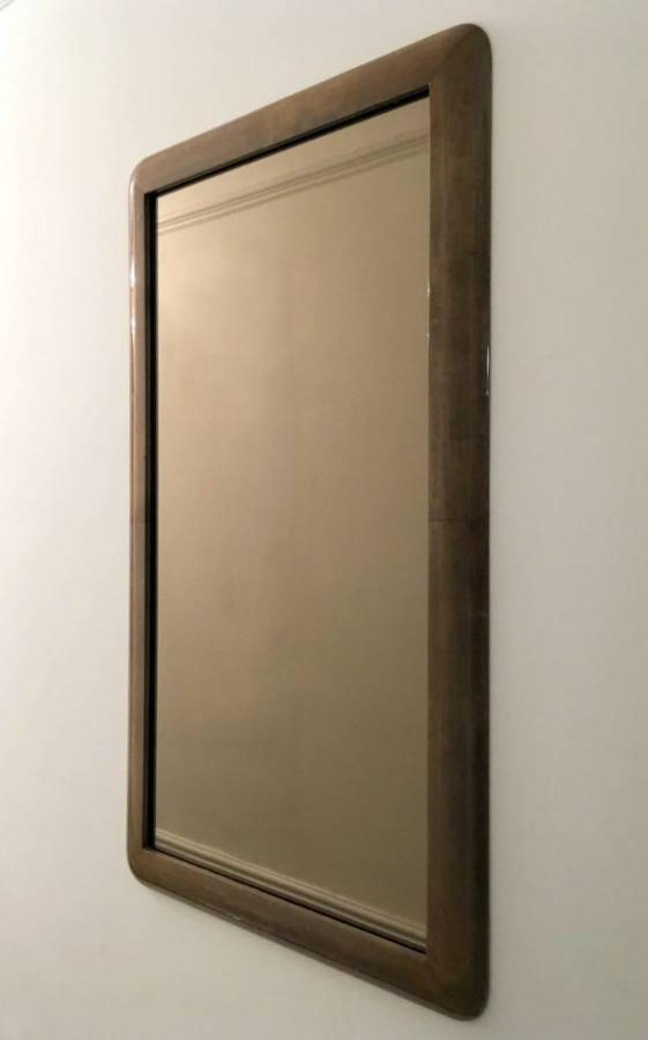 Italian lacquered goatskin or parchment mirror