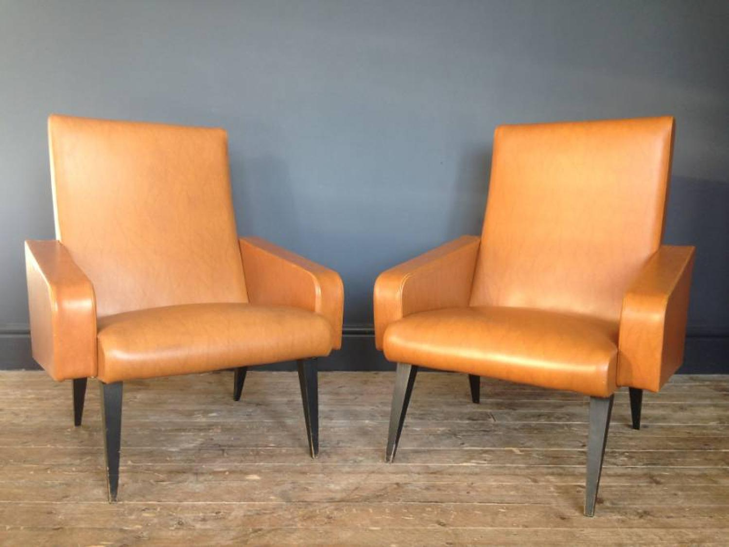 A pair of 1960s French armchairs