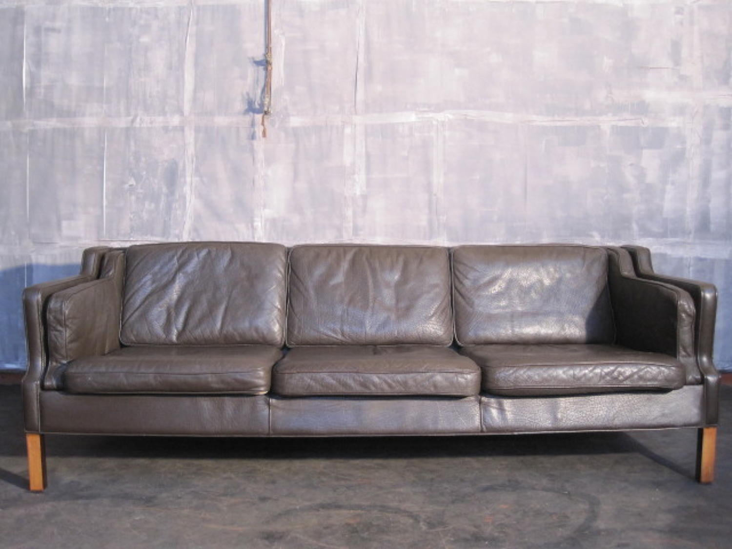 Danish three seater leather sofa