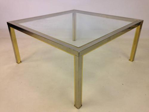 Chrome and lacquered brass coffee table