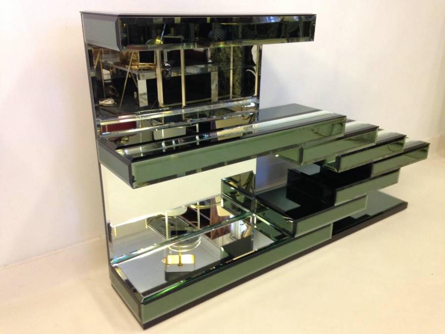 Italian mirrored glass console table
