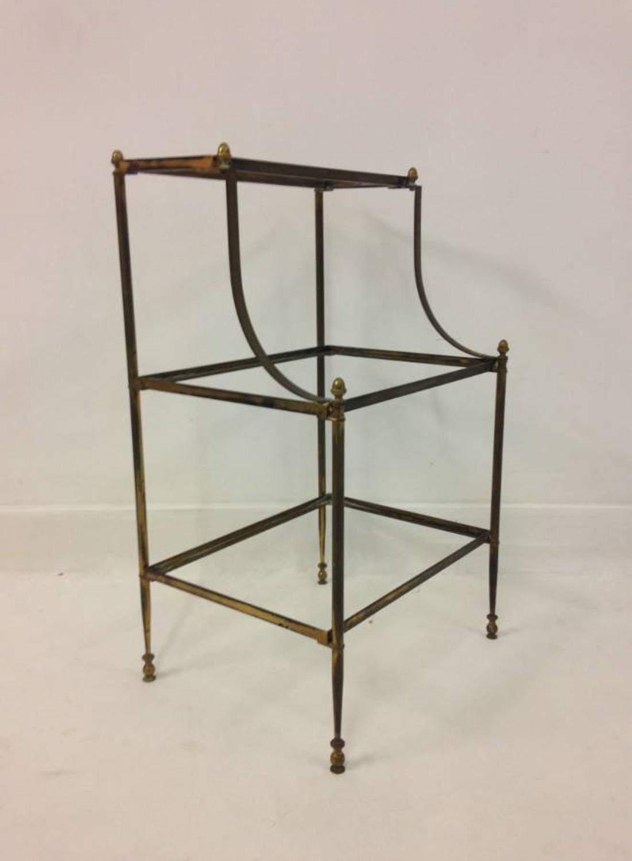 Three tier brass side table