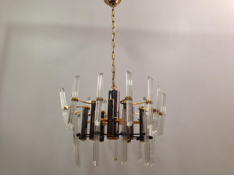 1970s chrome, gilt metal and glass chandelier