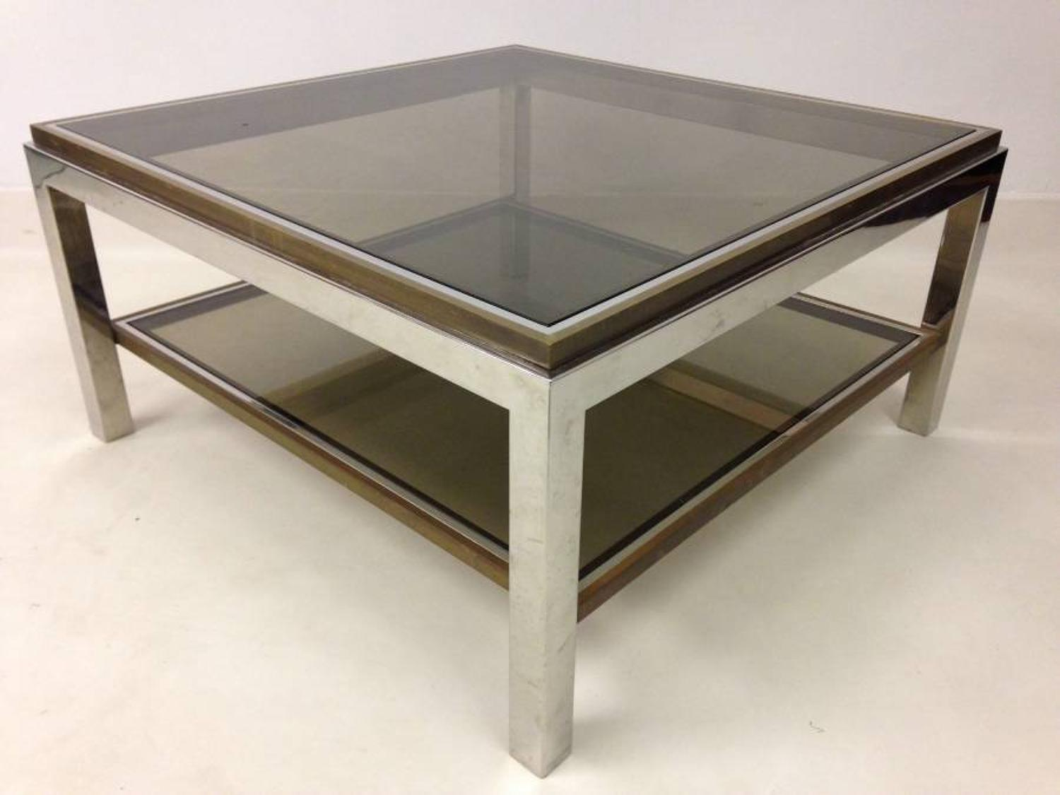 French chrome and brass coffee table