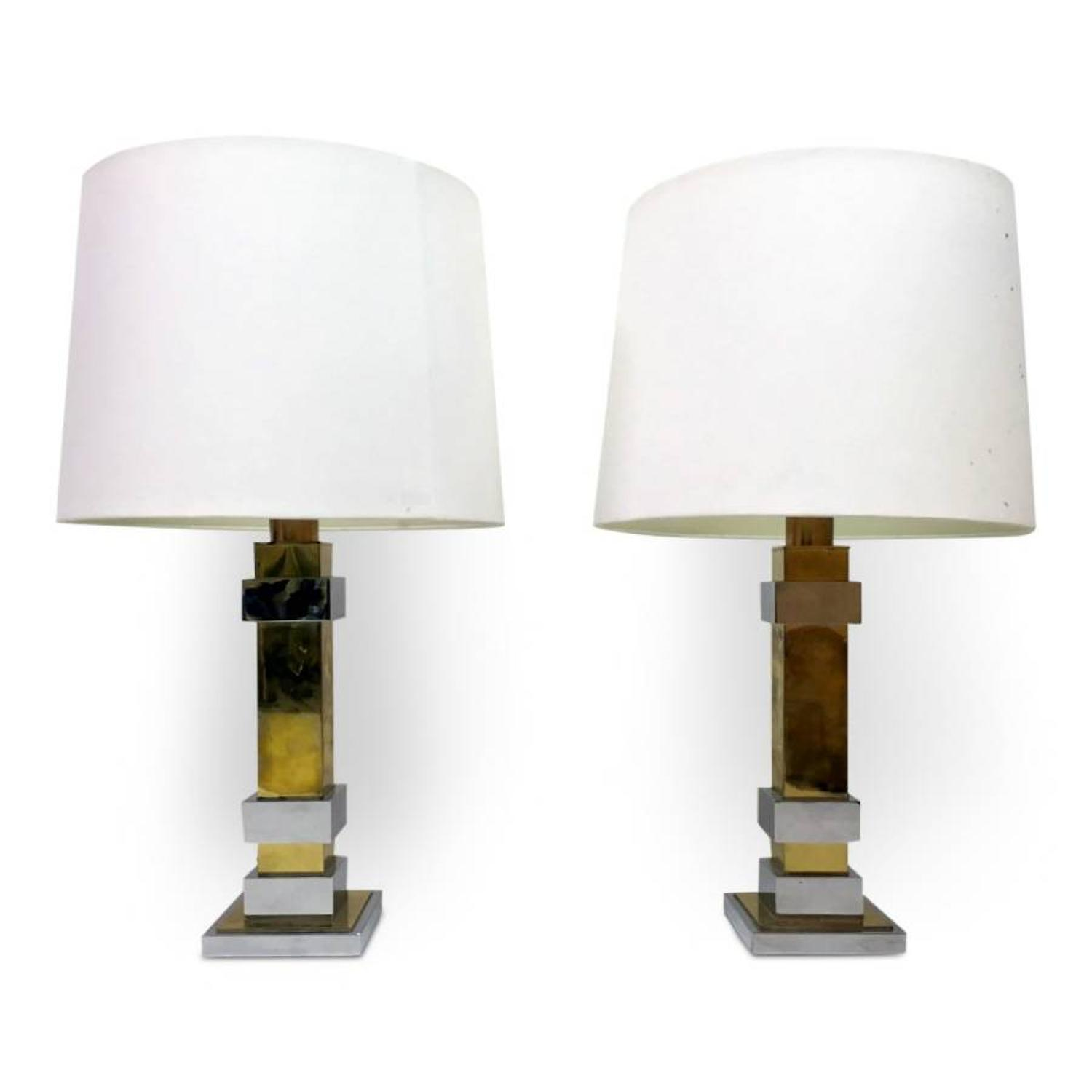 A pair of 1970s chrome and brass table lamps