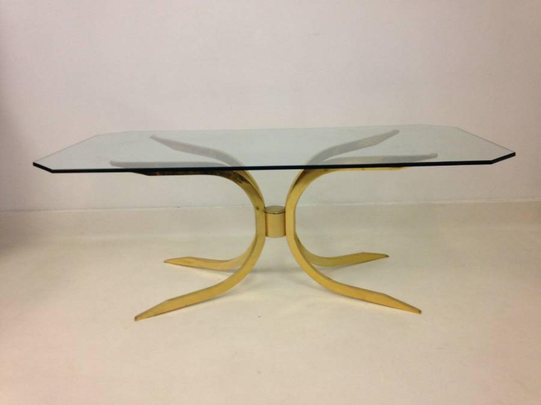 1970s gilt brass coffee table