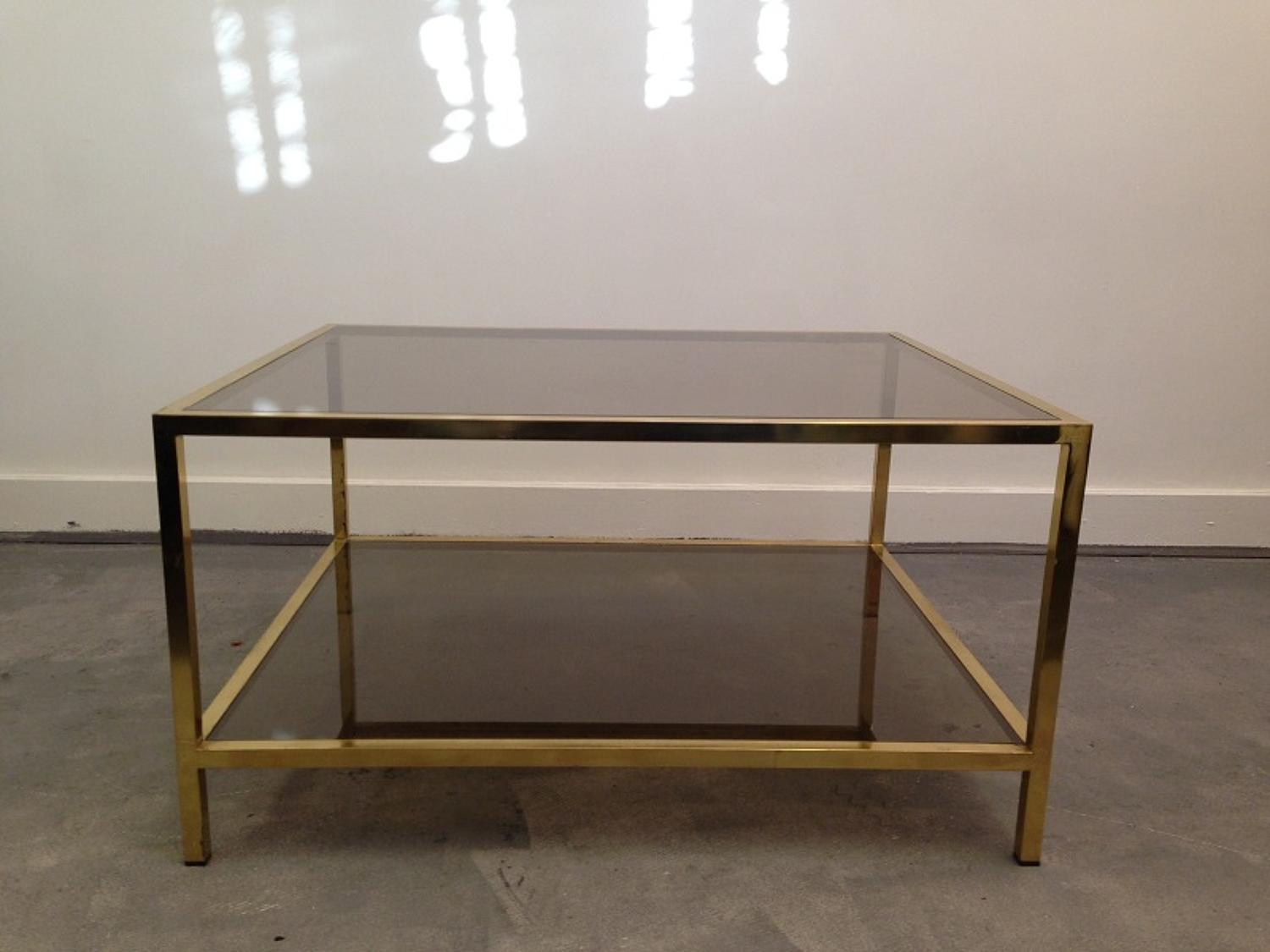 1970s brass and glass two tier coffee table