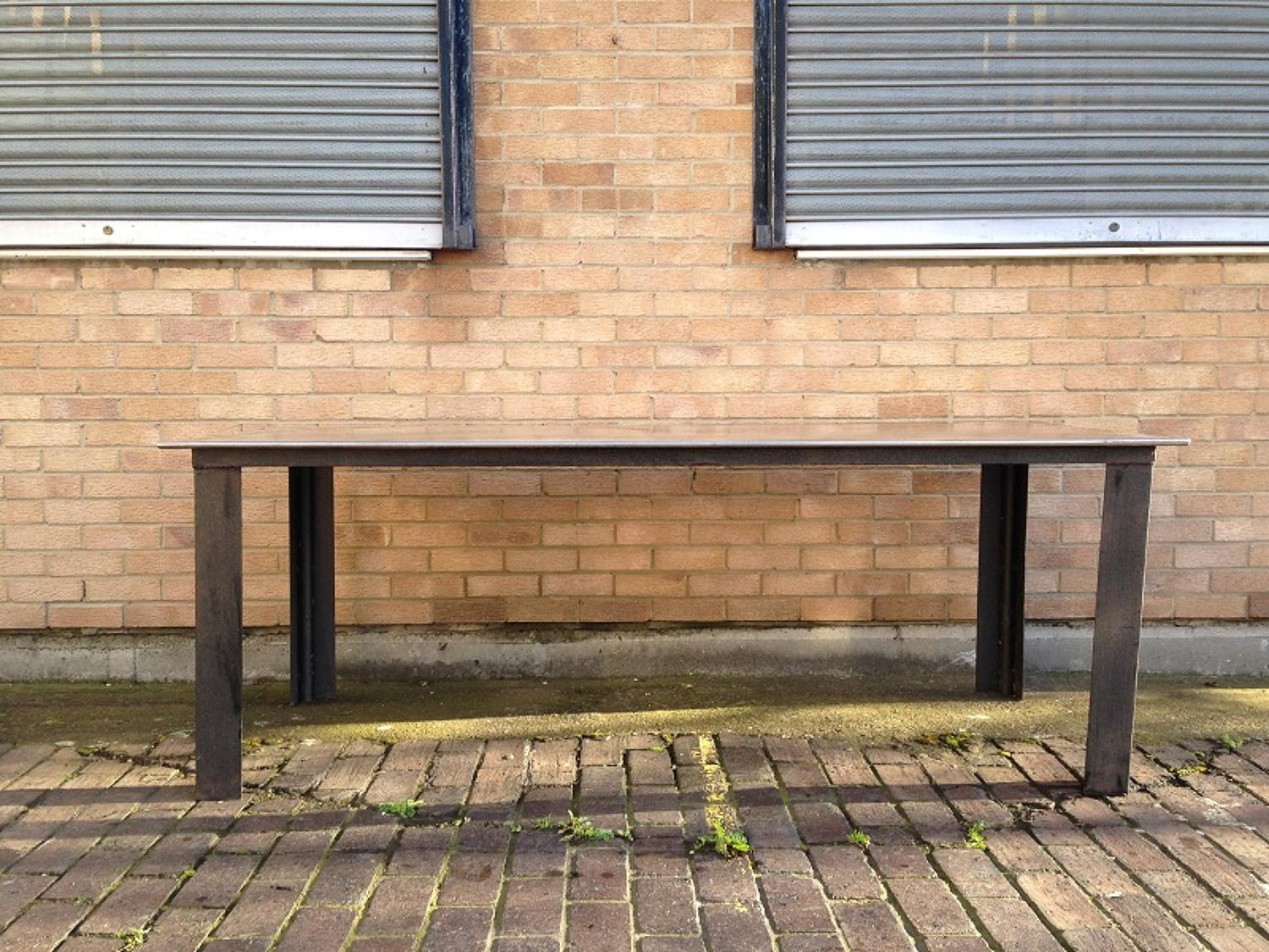 Industrial steel and iron dining table