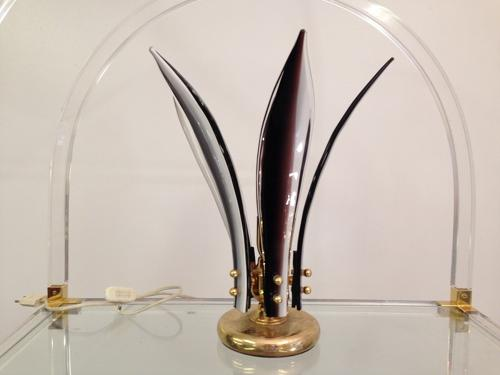 Brass and Murano glass table lamp