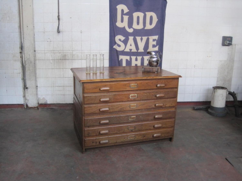 Vintage oak plan chest
