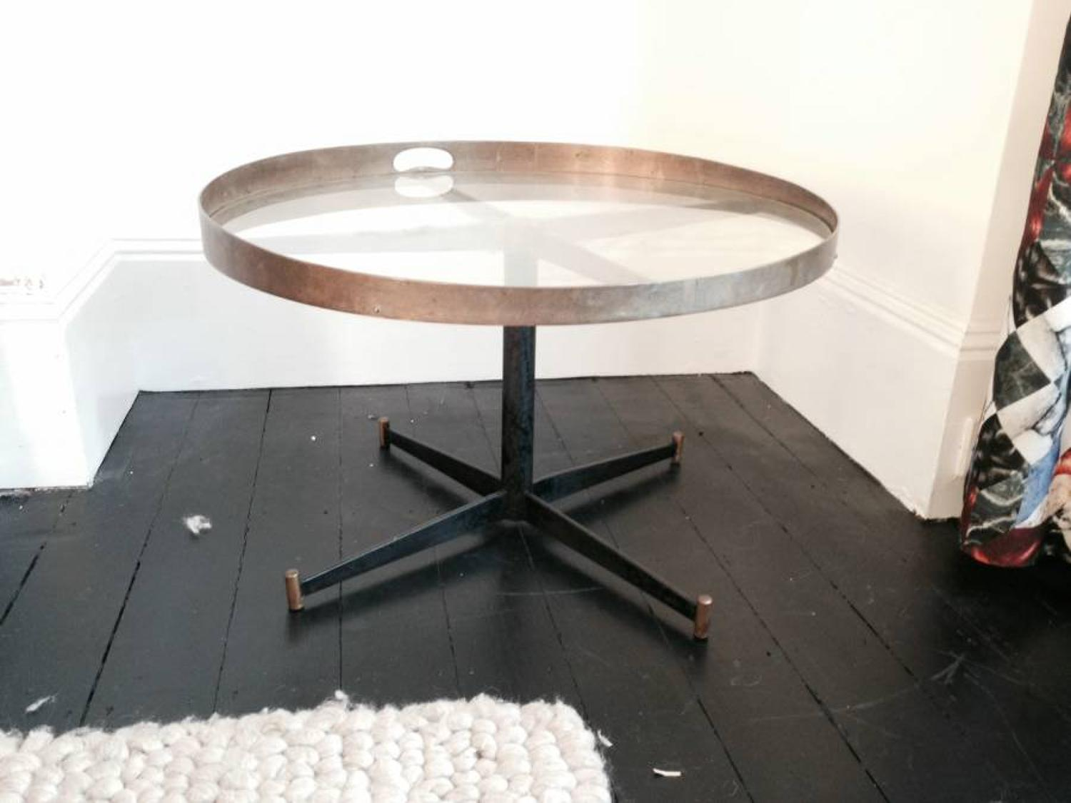 1950s brass and iron coffee table