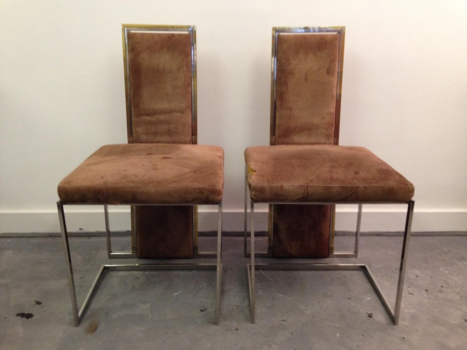 A set of four chrome and gilt metal dining chairs